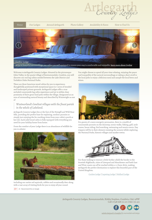 Artlegarth Country Lodges Website